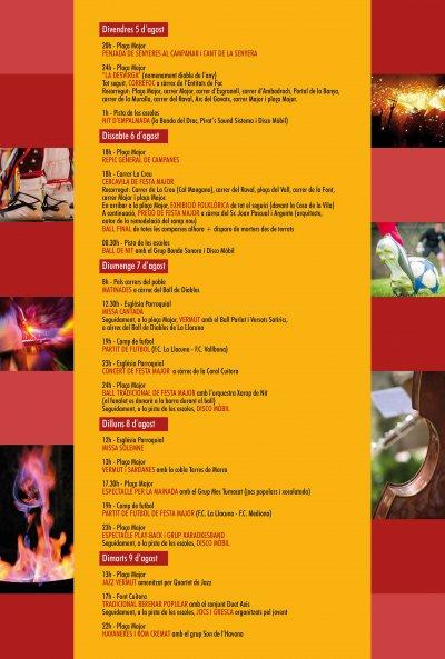 Programa de la Festa Major La Llacuna 2016