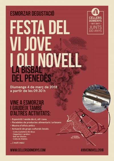 Cartell de La Festa del Vi jove i l'Oli novell a La Bisbal del Penedès