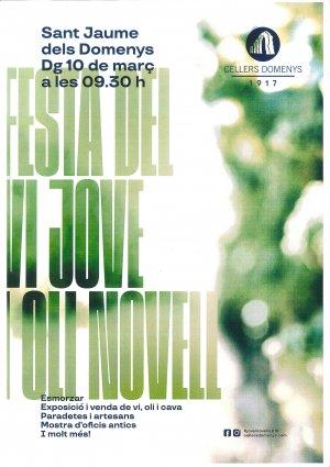 Cartell de La Festa del Vi jove i l'Oli novell a Sant Jaume dels Domenys